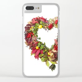 Autumnal wreath in the shape of heart from colored leaves of grapes, berries, quince, isolated on wh Clear iPhone Case