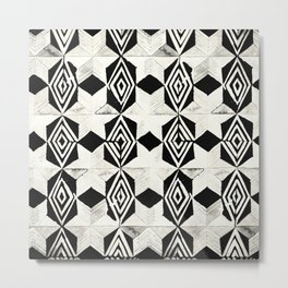 Tribal Shibori Stars Black and Cream Metal Print