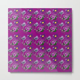 Purple and Blue Floral Pattern Metal Print