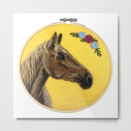 Brown Horse Hoop Art Metal Print