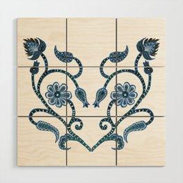 Blue Paisley Heart Wood Wall Art