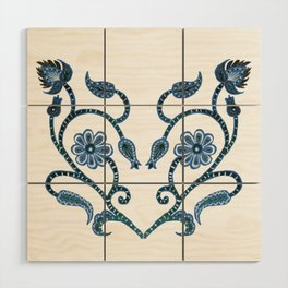 Blue Paisley Heart Wood Wall Art