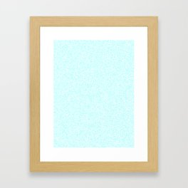 Spacey Melange - White and Celeste Cyan Framed Art Print