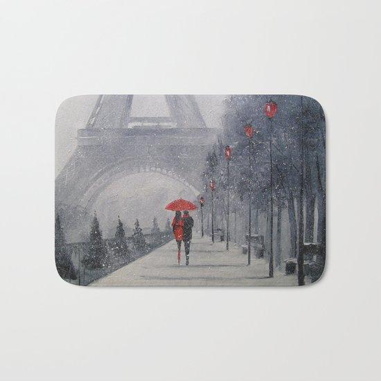 Paris in the snow Bath Mat