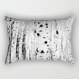 Black and White Aspen Trees Rectangular Pillow