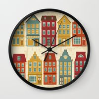 amsterdam Wall Clocks featuring Amsterdam by olillia
