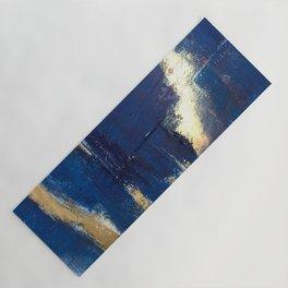 Halo [2]: a minimal, abstract mixed-media piece in blue and gold by Alyssa Hamilton Art Yoga Mat
