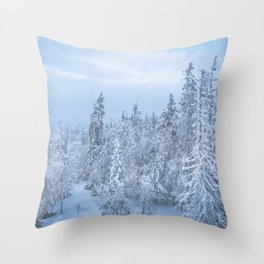 Winter forest in the Mountains Throw Pillow
