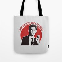 laura palmer Tote Bags featuring Who killed Laura Palmer twin peaks by Buby87