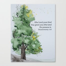 Watercolor painting of Oak tree with Bible verse Canvas Print