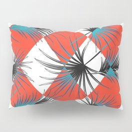 Harlequin rhombuses with palm leaves Pillow Sham