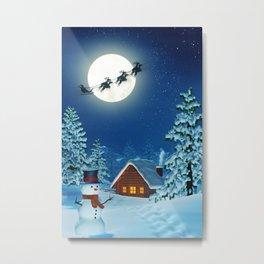 Cabin, snowman and Santa in moonlit winter landscape at night Metal Print