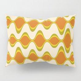 Retro Psychedelic Wavy Pattern in Orange, Yellow, Olive Pillow Sham