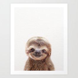 Baby Sloth, Baby Animals Art Print By Synplus Art Print