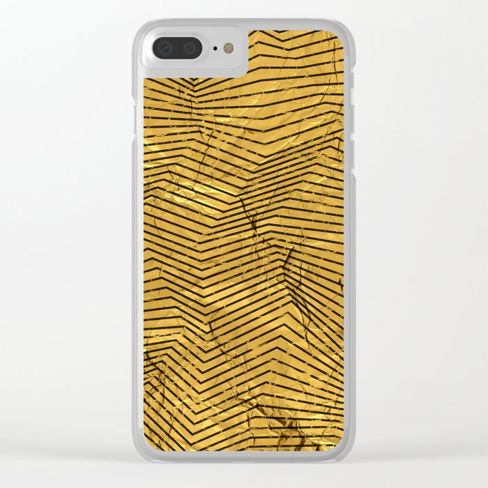 Line Gold Pattern Clear iPhone Case
