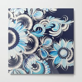Winter flowers in petrykivka style Metal Print