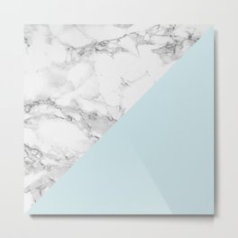 Marble + Pastel Blue Metal Print