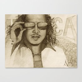 Pencil drawing of famous guitarist, Kirk Canvas Print