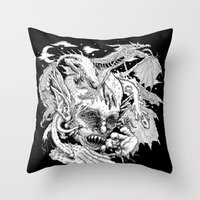 demon Throw Pillows featuring Demon by Gregery Miller