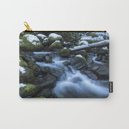 Snow, Moss, Water Over Rocks Carry-All Pouch