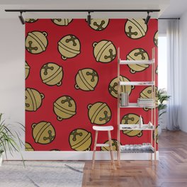 Jingle Bells Christmas Pattern in Gold & Red Wall Mural