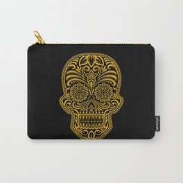 Intricate Yellow and Black Day of the Dead Sugar Skull Carry-All Pouch