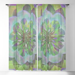 Purple & Green Spiro Sheer Curtain