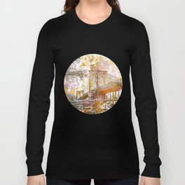 Brooklyn Bridge New York Mixed Media Art Long Sleeve T-shirt