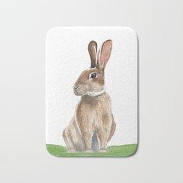 Rabbit in Grass Watercolor Bath Mat