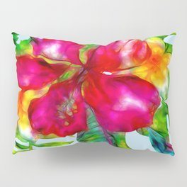 Electric Pop Tropical Flowers Pillow Sham