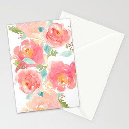 Watercolor Peonies Summer Bouquet Stationery Cards