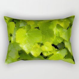 Green leaves with dew Rectangular Pillow
