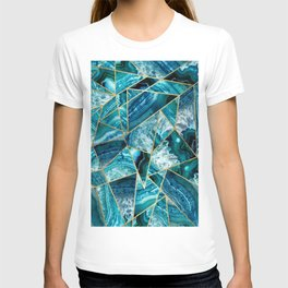 Turquoise Navy Blue Agate Black Gold Geometric Triangles T-shirt