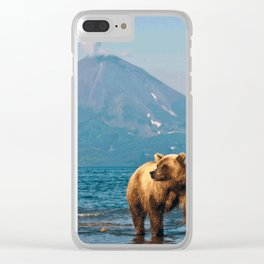 The bear under the volcano Clear iPhone Case