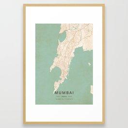 Mumbai, India - Vintage Map Framed Art Print