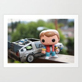 Marty and Delorean Art Print