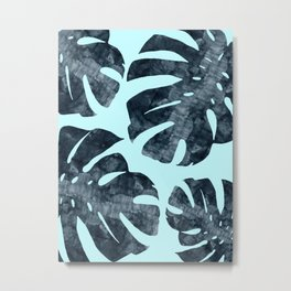 Tropical leaves on blue background Metal Print