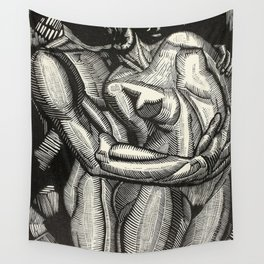 Embrace, Engraving from Song of Solomon 1929 by Cecil Buller Wall Tapestry