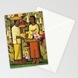 Mujeres con flores (Woman selling Zinnias, Lilies, Angels Trumpet & Begonias) by Alfredo Martinez Stationery Cards