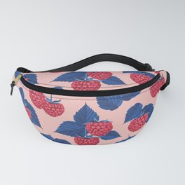 Raspberry on pink background Fanny Pack