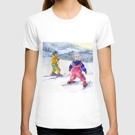 Watercolor skiing, skiers kids T-shirt