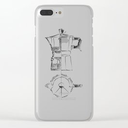 Coffee pot blueprint sketch Clear iPhone Case