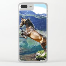 Horse and Lake Clear iPhone Case
