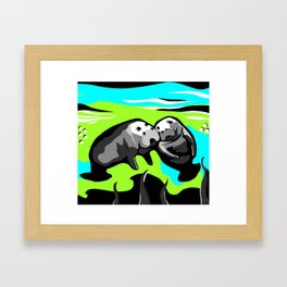 MANATEE LOVE in Blue Green Underwater Framed Art Print