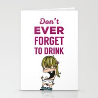 drunk Stationery Cards featuring DRUNK GIRL by flydesign
