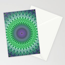 Mandala with light green and violet ornaments Stationery Cards