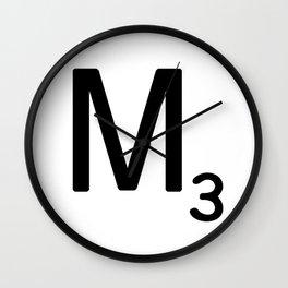 Letter M - Custom Scrabble Letter Tile Art - Scrabble M Initial Wall Clock
