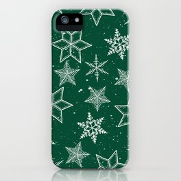 Snowflakes On Green Background iPhone Case