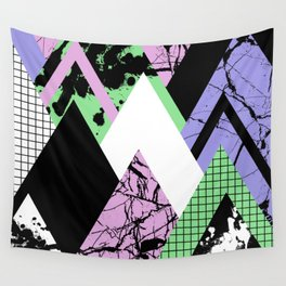 Textured Points - Marbled, pastel, black and white, paint splat textured geometric triangles Wall Tapestry