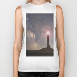 Milkyway over Thacher Island Biker Tank